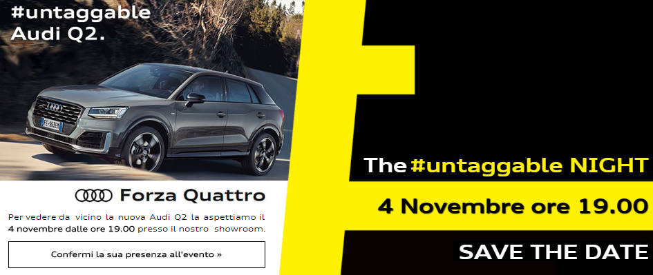 Presentazione Nuova Audi Q2 il 4 novembre presso Forza Quattro Viale Italia 305